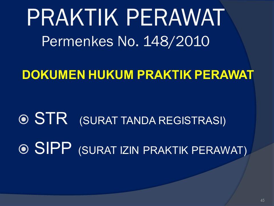 PRAKTIK PERAWAT Permenkes No. 148/2010 DOKUMEN HUKUM PRAKTIK PERAWAT  STR (SURAT TANDA REGISTRASI)  SIPP (SURAT IZIN PRAKTIK PERAWAT) 45