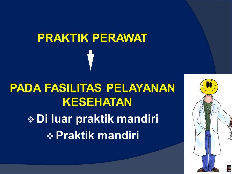PRAKTIK PERAWAT PADA FASILITAS PELAYANAN KESEHATAN  Di luar praktik mandiri  Praktik mandiri 47