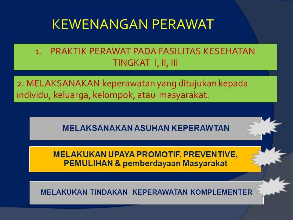 KEWENANGAN PERAWAT 1.PRAKTIK PERAWAT PADA FASILITAS KESEHATAN TINGKAT I, II, III MELAKUKAN UPAYA PROMOTIF, PREVENTIVE, PEMULIHAN & pemberdayaan Masyar
