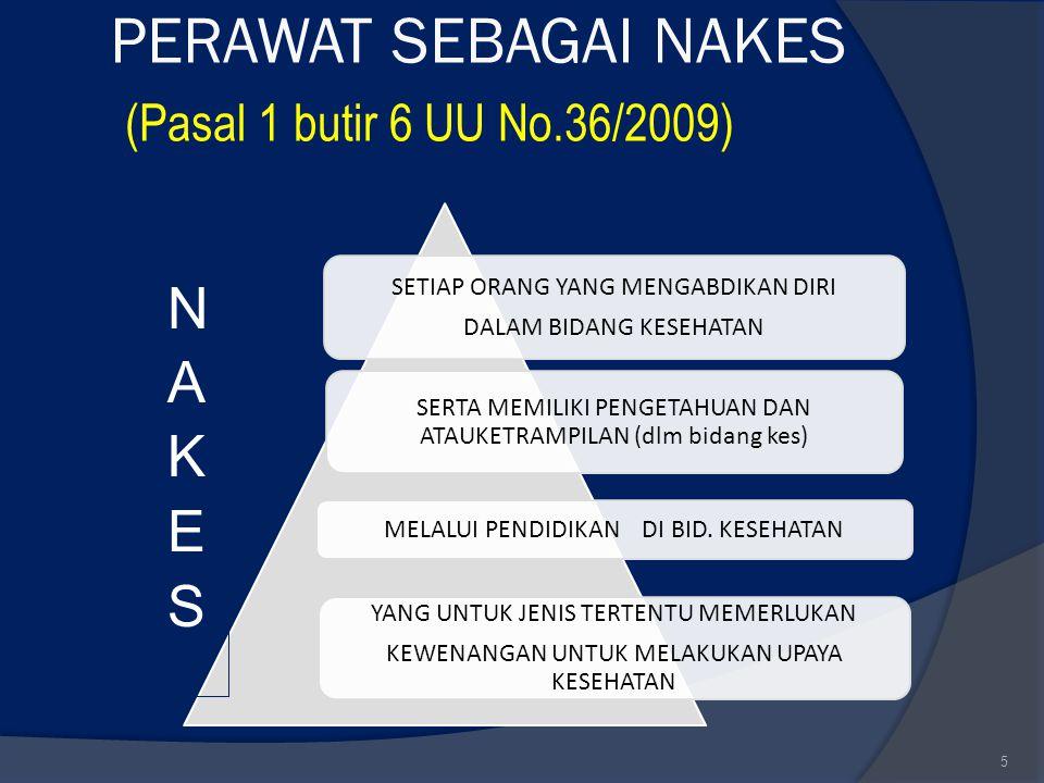 5 PERAWAT SEBAGAI NAKES (Pasal 1 butir 6 UU No.36/2009) SETIAP ORANG YANG MENGABDIKAN DIRI DALAM BIDANG KESEHATAN SERTA MEMILIKI PENGETAHUAN DAN ATAUK