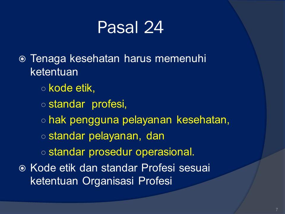 Pasal 24  Tenaga kesehatan harus memenuhi ketentuan ○ kode etik, ○ standar profesi, ○ hak pengguna pelayanan kesehatan, ○ standar pelayanan, dan ○ st