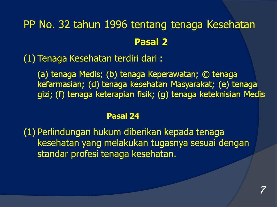 7 PP No. 32 tahun 1996 tentang tenaga Kesehatan Pasal 2 (1)Tenaga Kesehatan terdiri dari : (a) tenaga Medis; (b) tenaga Keperawatan; © tenaga kefarmas