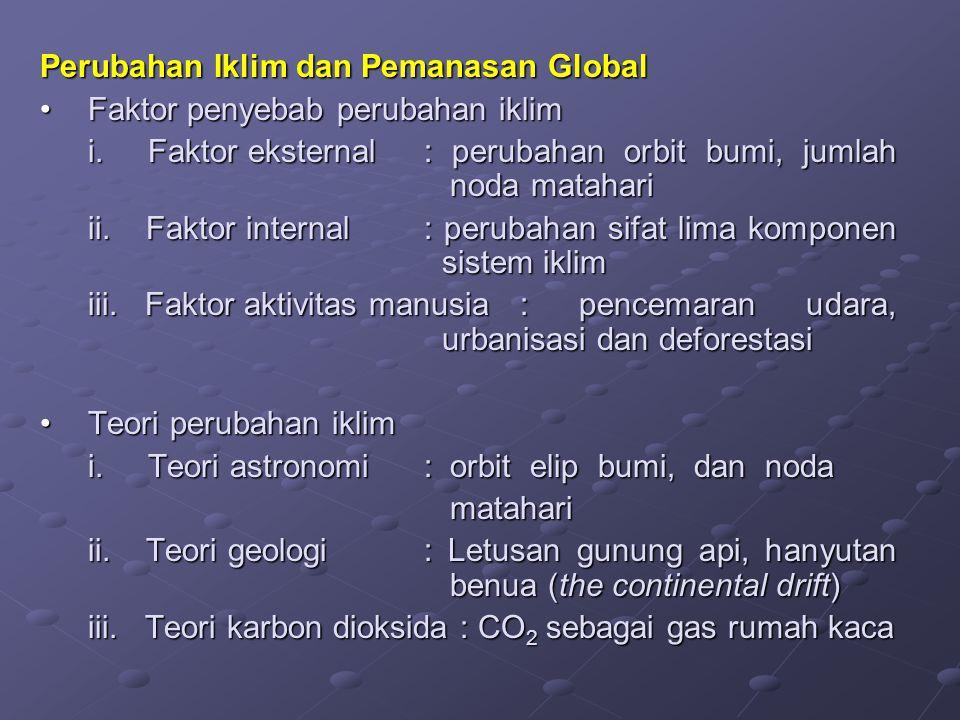 Perubahan Iklim dan Pemanasan Global Faktor penyebab perubahan iklimFaktor penyebab perubahan iklim i. Faktor eksternal: perubahan orbit bumi, jumlah