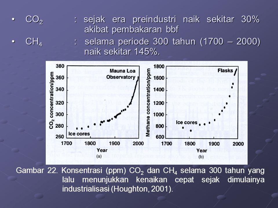 CO 2 : sejak era preindustri naik sekitar 30% akibat pembakaran bbfCO 2 : sejak era preindustri naik sekitar 30% akibat pembakaran bbf CH 4 : selama p