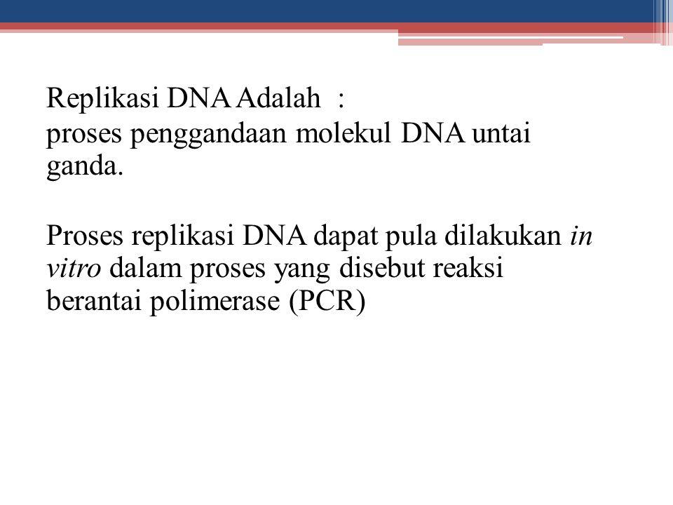 Replikasi DNA Adalah : proses penggandaan molekul DNA untai ganda. Proses replikasi DNA dapat pula dilakukan in vitro dalam proses yang disebut reaksi