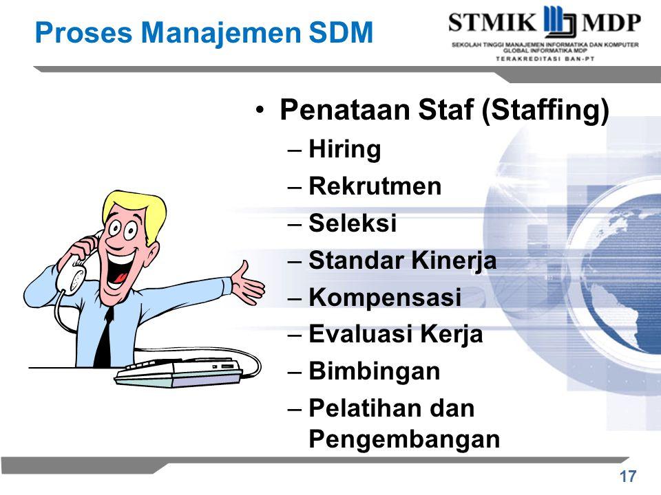 17 Proses Manajemen SDM Penataan Staf (Staffing) –Hiring –Rekrutmen –Seleksi –Standar Kinerja –Kompensasi –Evaluasi Kerja –Bimbingan –Pelatihan dan Pengembangan