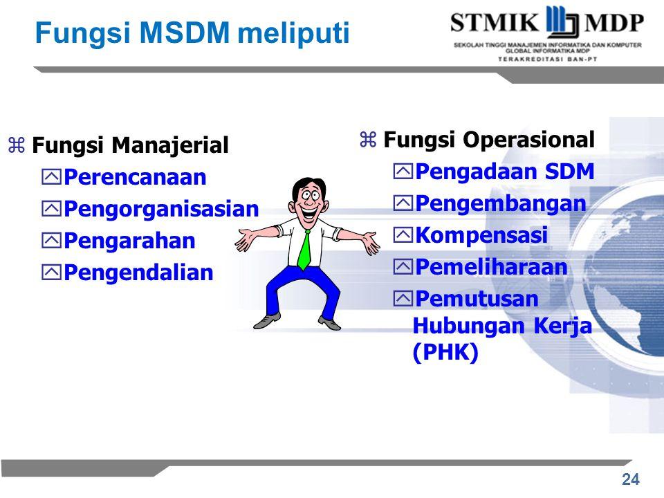 24 zFungsi Manajerial yPerencanaan yPengorganisasian yPengarahan yPengendalian zFungsi Operasional yPengadaan SDM yPengembangan yKompensasi yPemeliharaan yPemutusan Hubungan Kerja (PHK) Fungsi MSDM meliputi