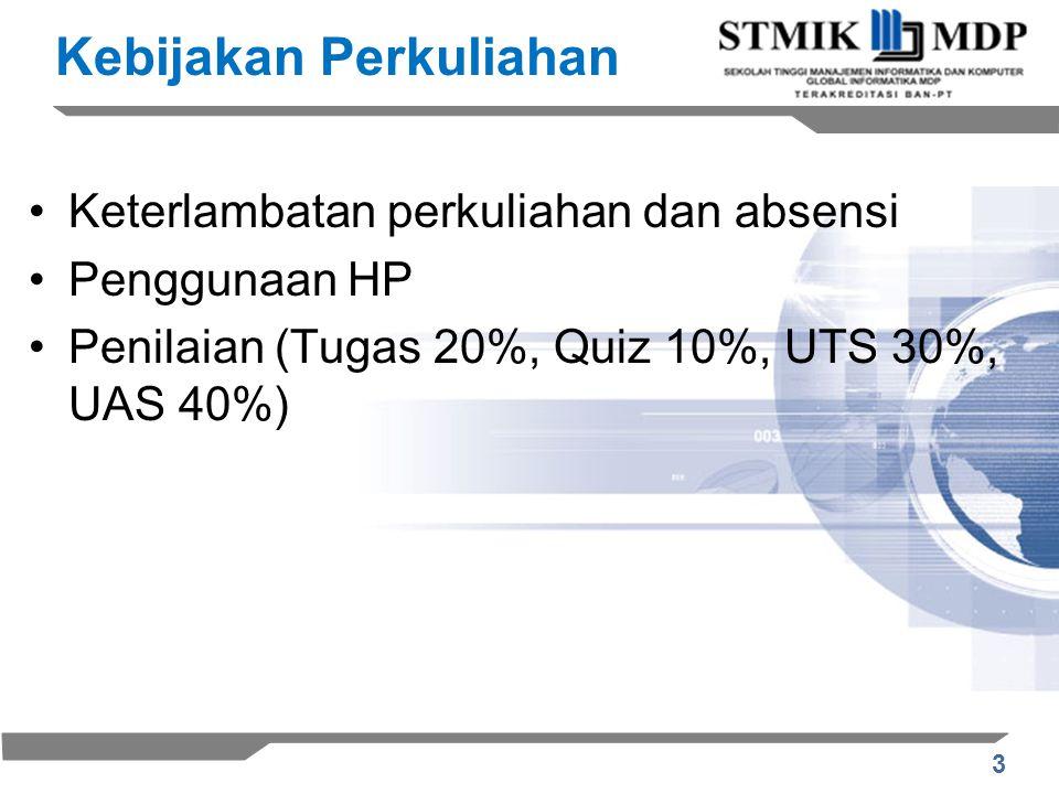 3 Kebijakan Perkuliahan Keterlambatan perkuliahan dan absensi Penggunaan HP Penilaian (Tugas 20%, Quiz 10%, UTS 30%, UAS 40%)