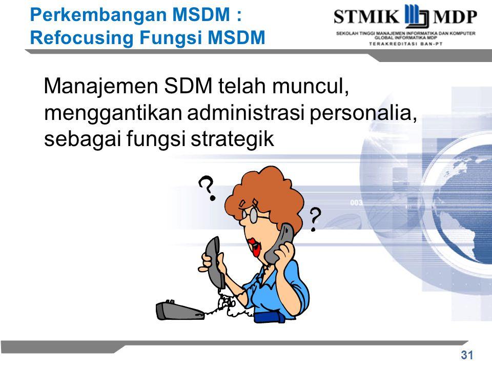 31 Manajemen SDM telah muncul, menggantikan administrasi personalia, sebagai fungsi strategik Perkembangan MSDM : Refocusing Fungsi MSDM