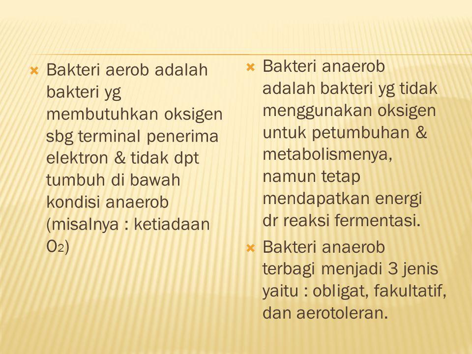  Bakteri aerob adalah bakteri yg membutuhkan oksigen sbg terminal penerima elektron & tidak dpt tumbuh di bawah kondisi anaerob (misalnya : ketiadaan