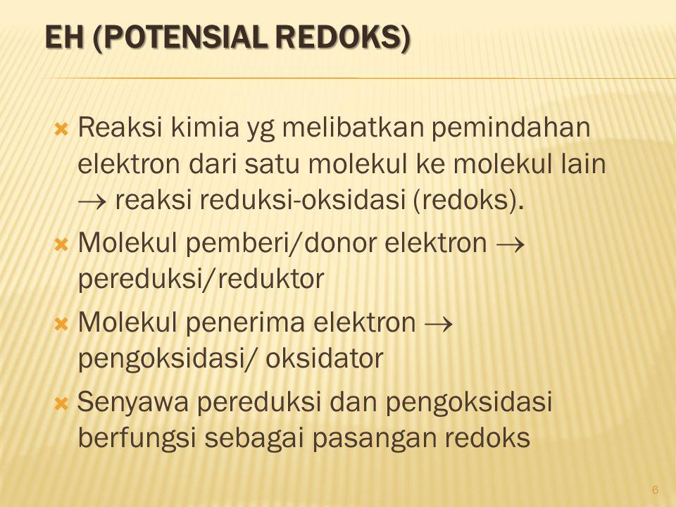 EH (POTENSIAL REDOKS)  Reaksi kimia yg melibatkan pemindahan elektron dari satu molekul ke molekul lain  reaksi reduksi-oksidasi (redoks).  Molekul