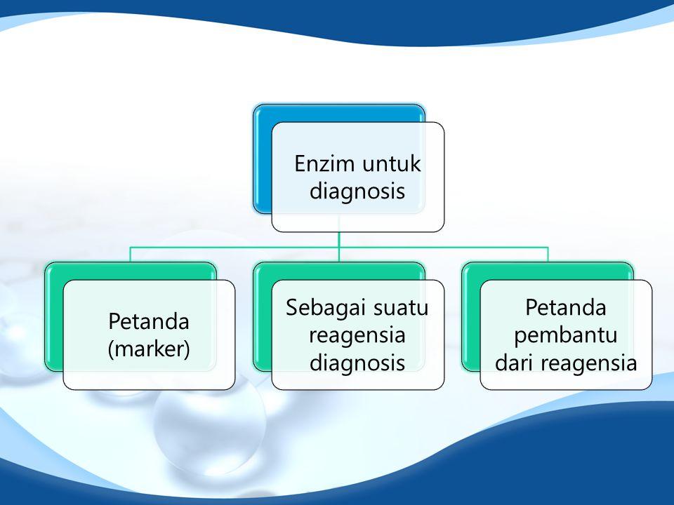 Enzim untuk diagnosis Petanda (marker) Sebagai suatu reagensia diagnosis Petanda pembantu dari reagensia
