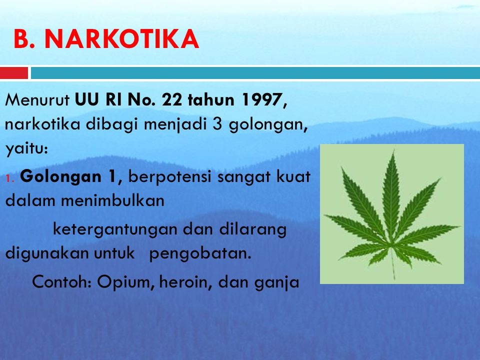 B.NARKOTIKA Menurut UU RI No. 22 tahun 1997, narkotika dibagi menjadi 3 golongan, yaitu: 1.