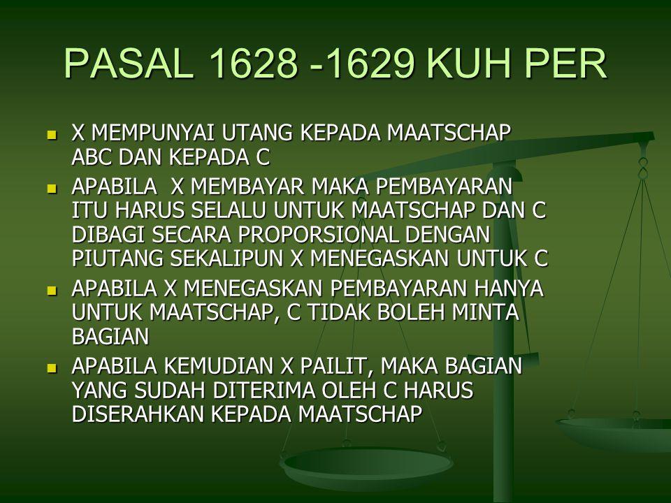 PASAL 1628 -1629 KUH PER X MEMPUNYAI UTANG KEPADA MAATSCHAP ABC DAN KEPADA C X MEMPUNYAI UTANG KEPADA MAATSCHAP ABC DAN KEPADA C APABILA X MEMBAYAR MAKA PEMBAYARAN ITU HARUS SELALU UNTUK MAATSCHAP DAN C DIBAGI SECARA PROPORSIONAL DENGAN PIUTANG SEKALIPUN X MENEGASKAN UNTUK C APABILA X MEMBAYAR MAKA PEMBAYARAN ITU HARUS SELALU UNTUK MAATSCHAP DAN C DIBAGI SECARA PROPORSIONAL DENGAN PIUTANG SEKALIPUN X MENEGASKAN UNTUK C APABILA X MENEGASKAN PEMBAYARAN HANYA UNTUK MAATSCHAP, C TIDAK BOLEH MINTA BAGIAN APABILA X MENEGASKAN PEMBAYARAN HANYA UNTUK MAATSCHAP, C TIDAK BOLEH MINTA BAGIAN APABILA KEMUDIAN X PAILIT, MAKA BAGIAN YANG SUDAH DITERIMA OLEH C HARUS DISERAHKAN KEPADA MAATSCHAP APABILA KEMUDIAN X PAILIT, MAKA BAGIAN YANG SUDAH DITERIMA OLEH C HARUS DISERAHKAN KEPADA MAATSCHAP