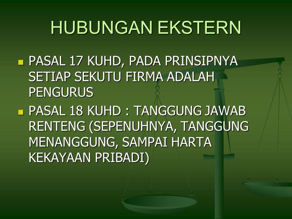 HUBUNGAN EKSTERN PASAL 17 KUHD, PADA PRINSIPNYA SETIAP SEKUTU FIRMA ADALAH PENGURUS PASAL 17 KUHD, PADA PRINSIPNYA SETIAP SEKUTU FIRMA ADALAH PENGURUS PASAL 18 KUHD : TANGGUNG JAWAB RENTENG (SEPENUHNYA, TANGGUNG MENANGGUNG, SAMPAI HARTA KEKAYAAN PRIBADI) PASAL 18 KUHD : TANGGUNG JAWAB RENTENG (SEPENUHNYA, TANGGUNG MENANGGUNG, SAMPAI HARTA KEKAYAAN PRIBADI)