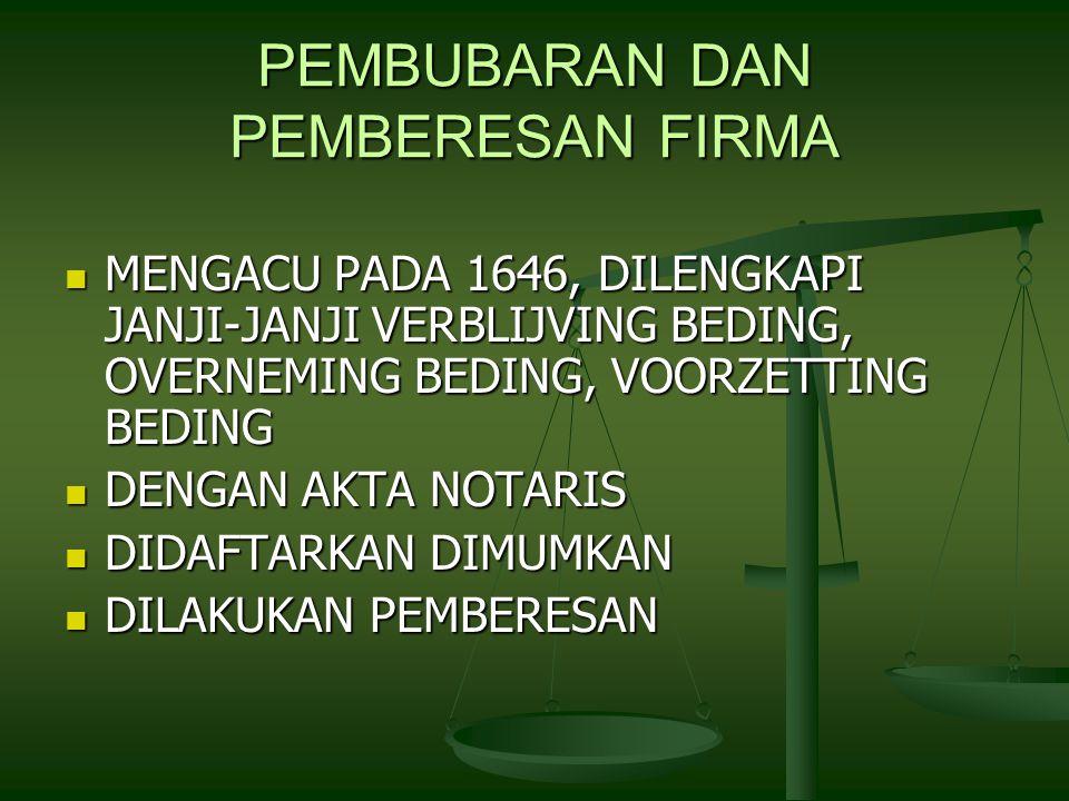 PEMBUBARAN DAN PEMBERESAN FIRMA MENGACU PADA 1646, DILENGKAPI JANJI-JANJI VERBLIJVING BEDING, OVERNEMING BEDING, VOORZETTING BEDING MENGACU PADA 1646, DILENGKAPI JANJI-JANJI VERBLIJVING BEDING, OVERNEMING BEDING, VOORZETTING BEDING DENGAN AKTA NOTARIS DENGAN AKTA NOTARIS DIDAFTARKAN DIMUMKAN DIDAFTARKAN DIMUMKAN DILAKUKAN PEMBERESAN DILAKUKAN PEMBERESAN