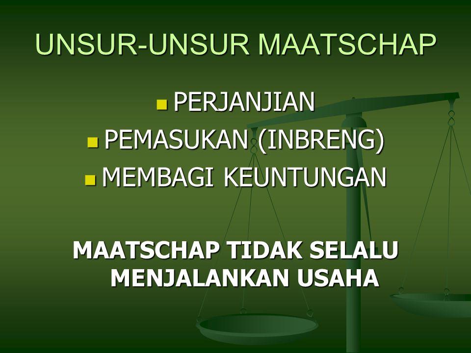 UNSUR-UNSUR MAATSCHAP PERJANJIAN PERJANJIAN PEMASUKAN (INBRENG) PEMASUKAN (INBRENG) MEMBAGI KEUNTUNGAN MEMBAGI KEUNTUNGAN MAATSCHAP TIDAK SELALU MENJALANKAN USAHA