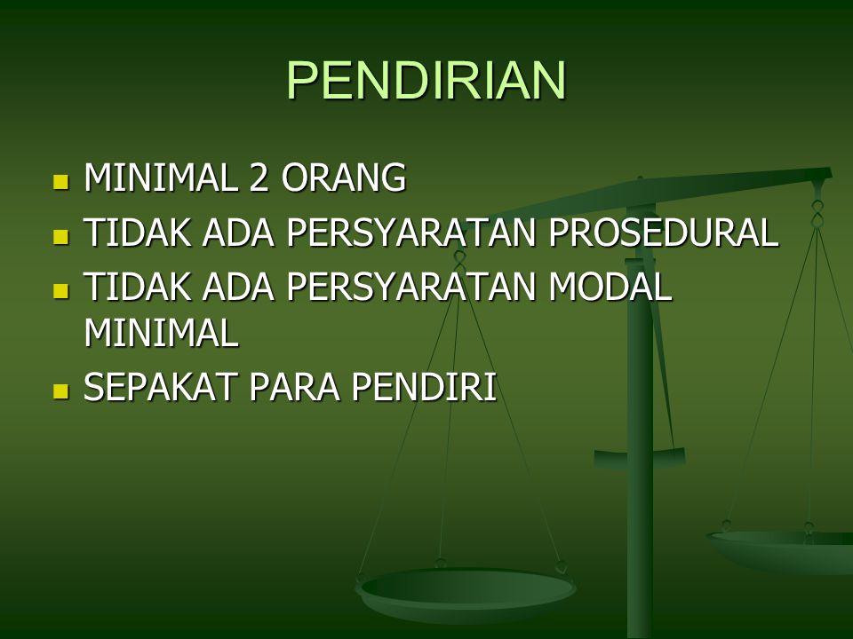 PENDIRIAN MINIMAL 2 ORANG MINIMAL 2 ORANG TIDAK ADA PERSYARATAN PROSEDURAL TIDAK ADA PERSYARATAN PROSEDURAL TIDAK ADA PERSYARATAN MODAL MINIMAL TIDAK ADA PERSYARATAN MODAL MINIMAL SEPAKAT PARA PENDIRI SEPAKAT PARA PENDIRI