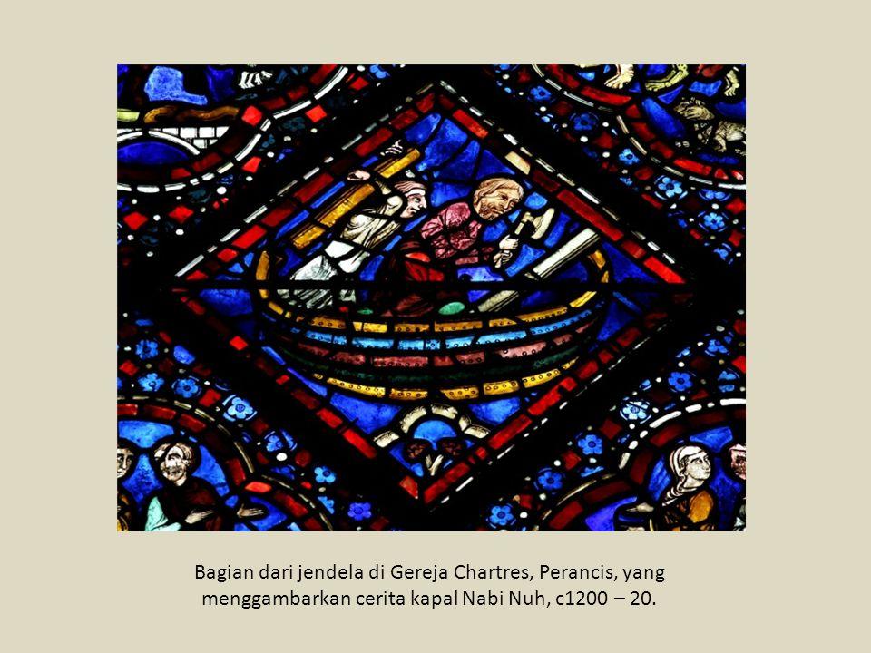 Bagian dari jendela di Gereja Chartres, Perancis, yang menggambarkan cerita kapal Nabi Nuh, c1200 – 20.