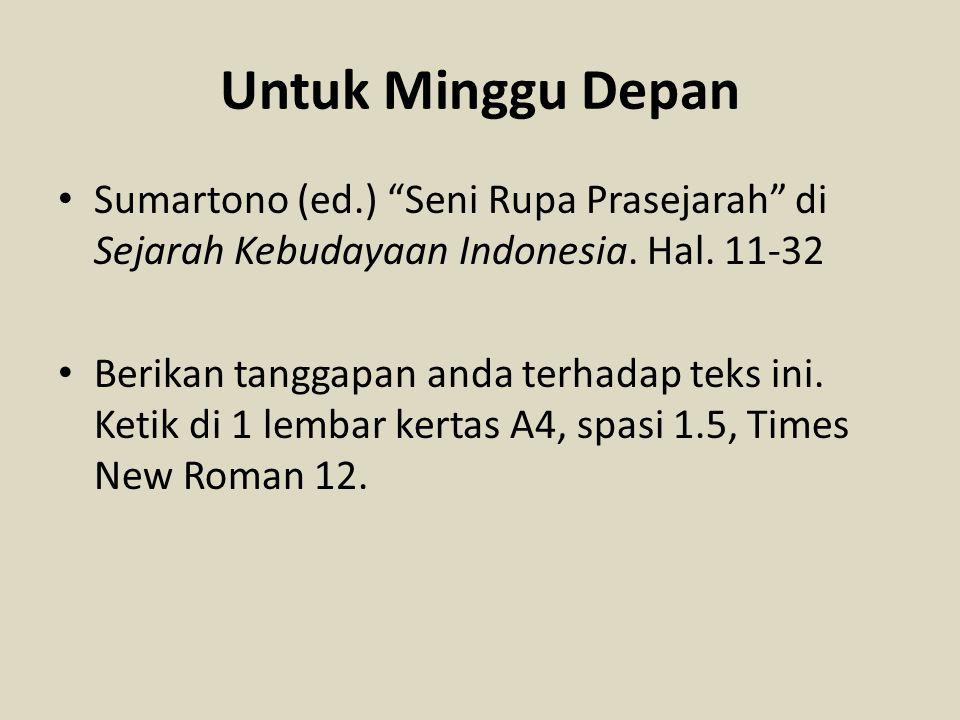 """Untuk Minggu Depan Sumartono (ed.) """"Seni Rupa Prasejarah"""" di Sejarah Kebudayaan Indonesia. Hal. 11-32 Berikan tanggapan anda terhadap teks ini. Ketik"""