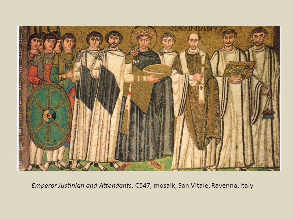 Emperor Justinian and Attendants. C547, mosaik, San Vitale, Ravenna, Italy