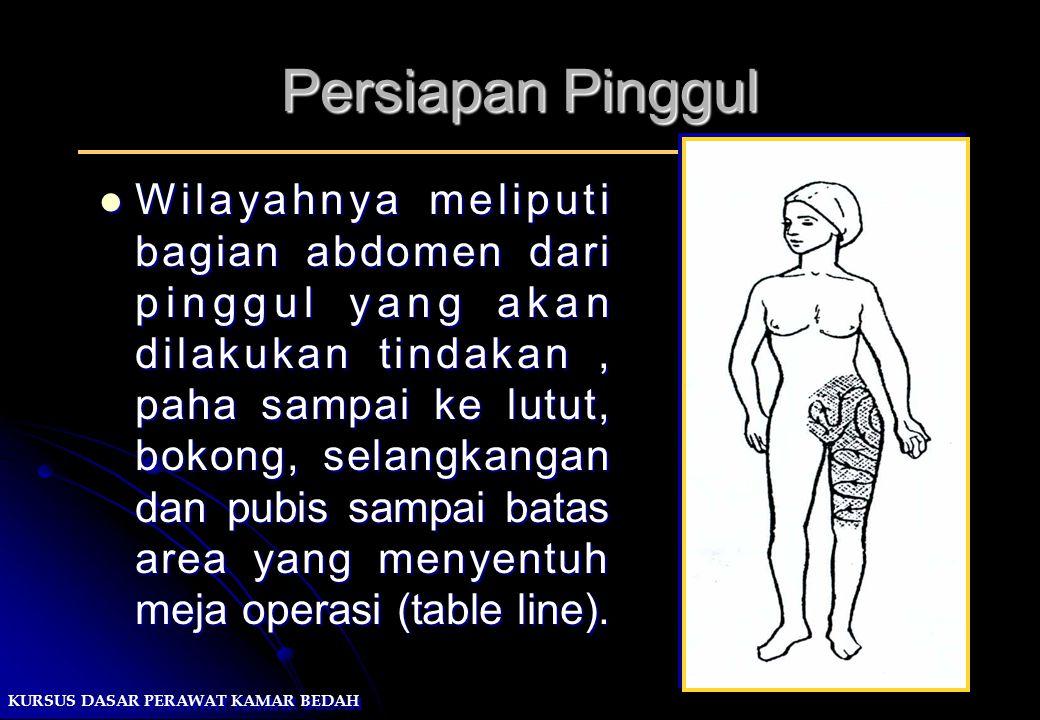 KURSUS DASAR PERAWAT KAMAR BEDAH Persiapan Pinggul Wilayahnya meliputi bagian abdomen dari pinggul yang akan dilakukan tindakan, paha sampai ke lutut,