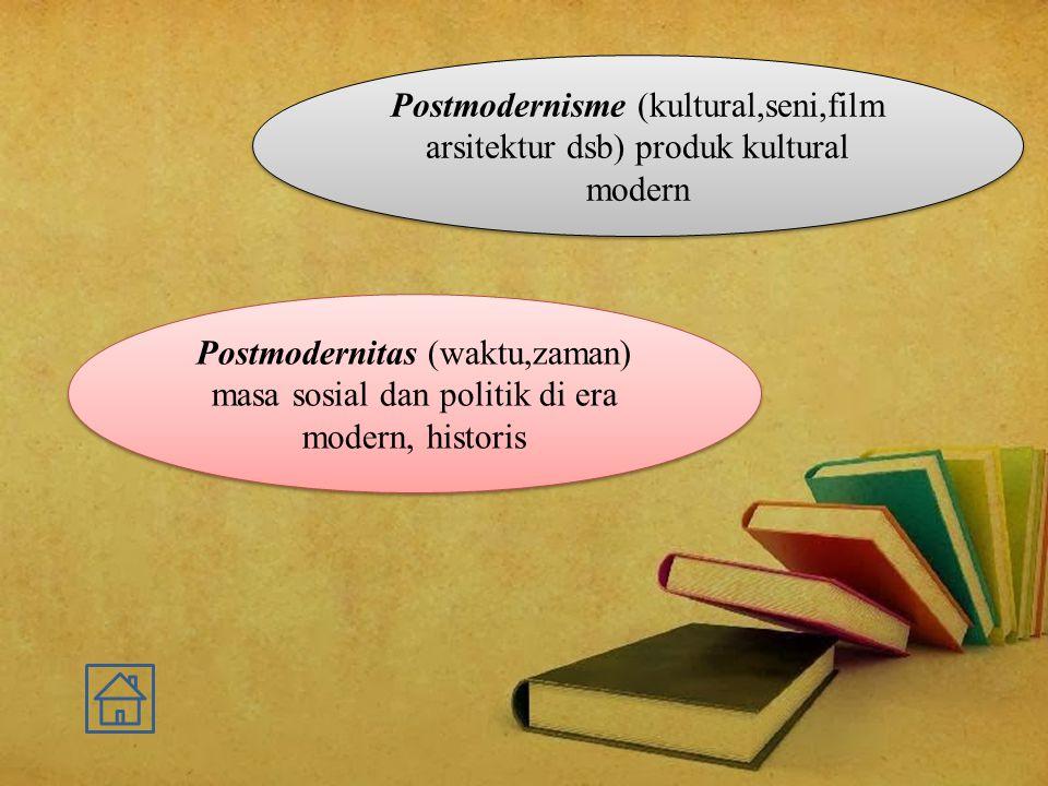 Postmodernitas (waktu,zaman) masa sosial dan politik di era modern, historis Postmodernisme (kultural,seni,film arsitektur dsb) produk kultural modern