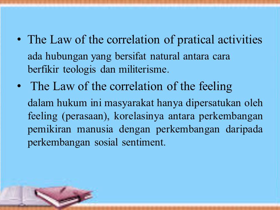 The Law of the correlation of pratical activities ada hubungan yang bersifat natural antara cara berfikir teologis dan militerisme.