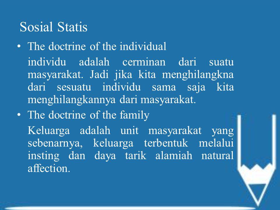 Sosial Statis The doctrine of the individual individu adalah cerminan dari suatu masyarakat.