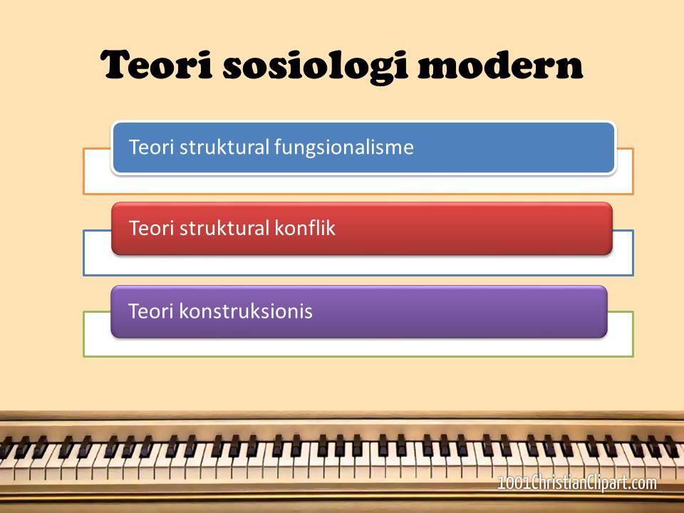 Teori sosiologi modern Teori struktural fungsionalismeTeori struktural konflikTeori konstruksionis