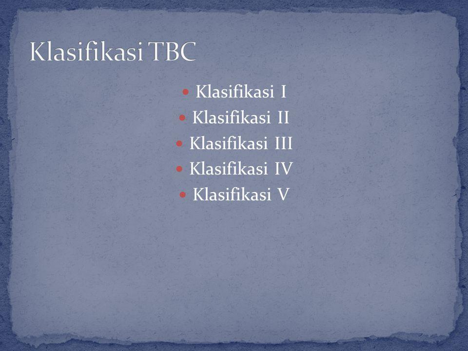 Klasifikasi I Klasifikasi II Klasifikasi III Klasifikasi IV Klasifikasi V