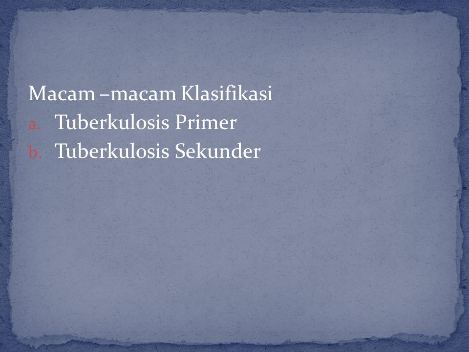 Macam –macam Klasifikasi a. Tuberkulosis Primer b. Tuberkulosis Sekunder