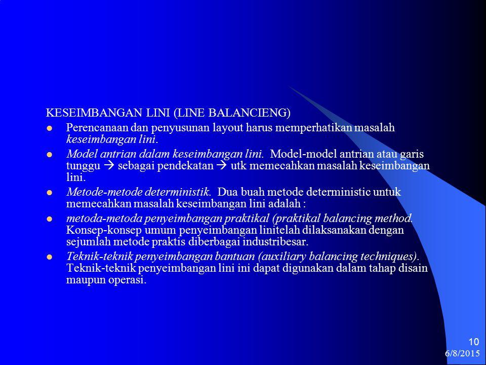 6/8/2015 10 KESEIMBANGAN LINI (LINE BALANCIENG) Perencanaan dan penyusunan layout harus memperhatikan masalah keseimbangan lini.