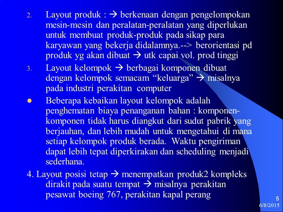 6/8/2015 5 2. Layout produk :  berkenaan dengan pengelompokan mesin-mesin dan peralatan-peralatan yang diperlukan untuk membuat produk-produk pada si