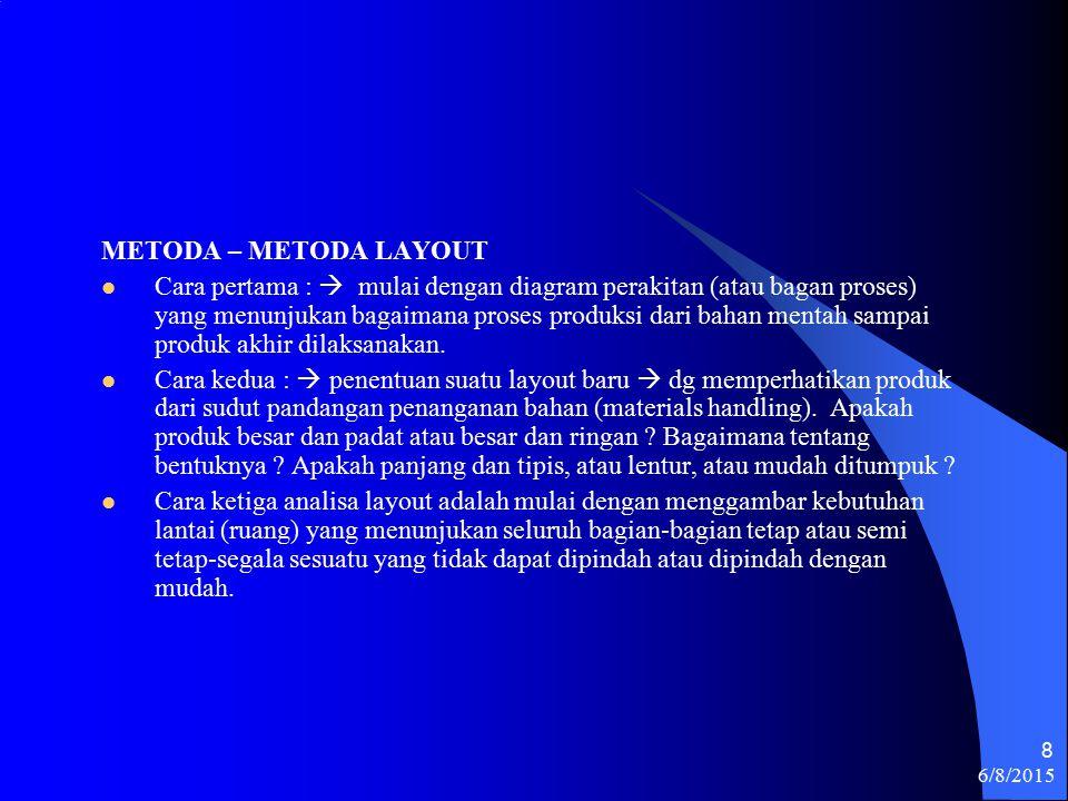 6/8/2015 8 METODA – METODA LAYOUT Cara pertama :  mulai dengan diagram perakitan (atau bagan proses) yang menunjukan bagaimana proses produksi dari bahan mentah sampai produk akhir dilaksanakan.