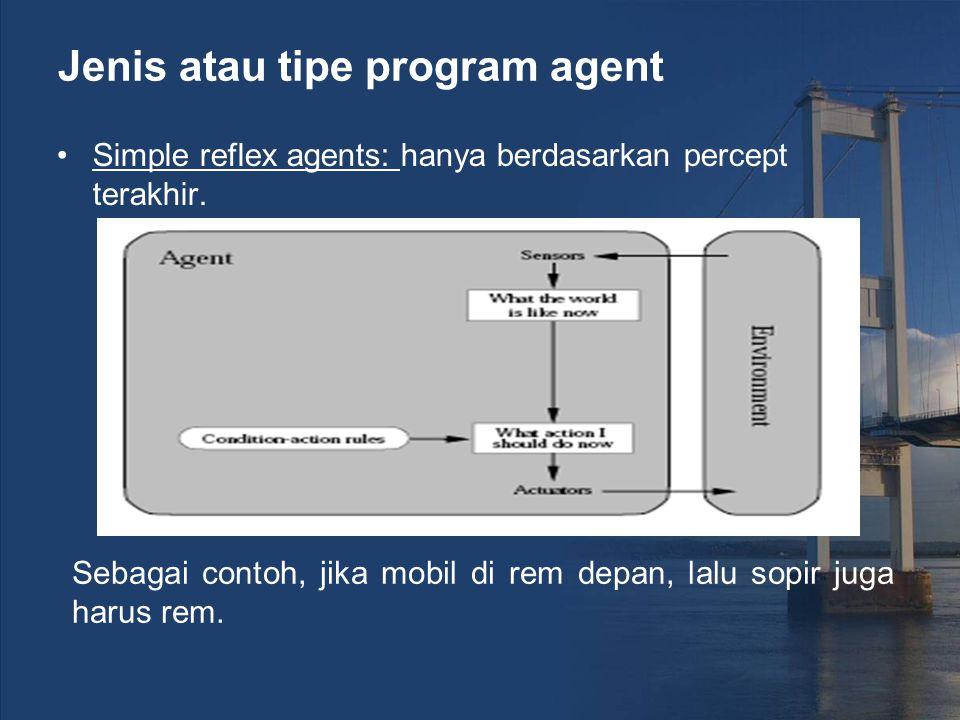 Jenis atau tipe program agent Simple reflex agents: hanya berdasarkan percept terakhir. Sebagai contoh, jika mobil di rem depan, lalu sopir juga harus