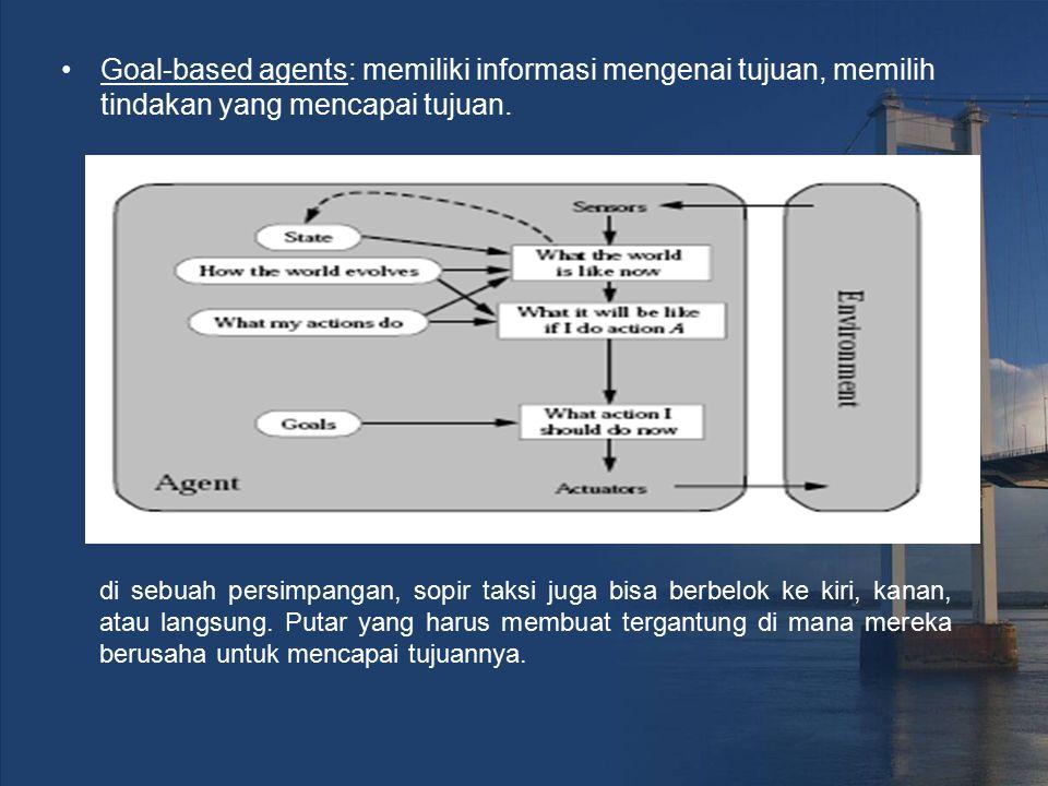 Goal-based agents: memiliki informasi mengenai tujuan, memilih tindakan yang mencapai tujuan. di sebuah persimpangan, sopir taksi juga bisa berbelok k