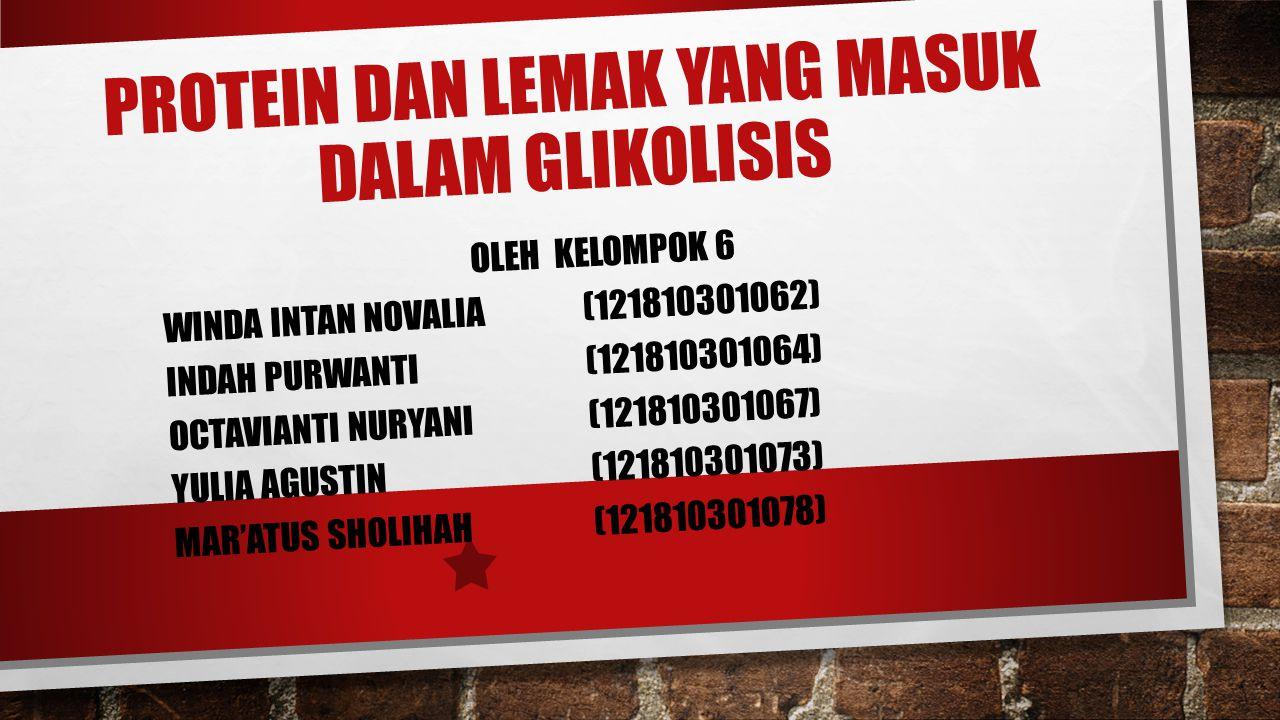 PROTEIN DAN LEMAK YANG MASUK DALAM GLIKOLISIS OLEH KELOMPOK 6 WINDA INTAN NOVALIA (121810301062) INDAH PURWANTI (121810301064) OCTAVIANTI NURYANI (121810301067) YULIA AGUSTIN (121810301073) MAR'ATUS SHOLIHAH (121810301078)