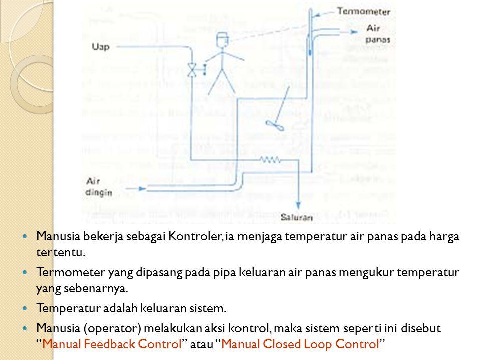 Manusia bekerja sebagai Kontroler, ia menjaga temperatur air panas pada harga tertentu. Termometer yang dipasang pada pipa keluaran air panas mengukur
