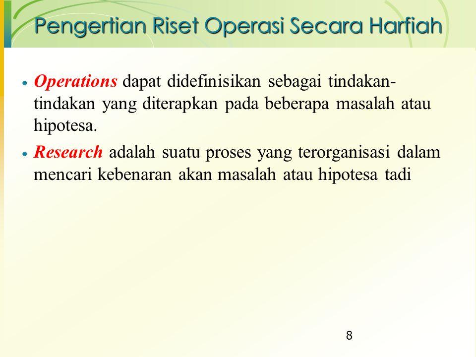 Dari sudut pandang Riset Operasi, dalam definisi masalah ini menunjukkan 3 aspek utama yaitu: 1.