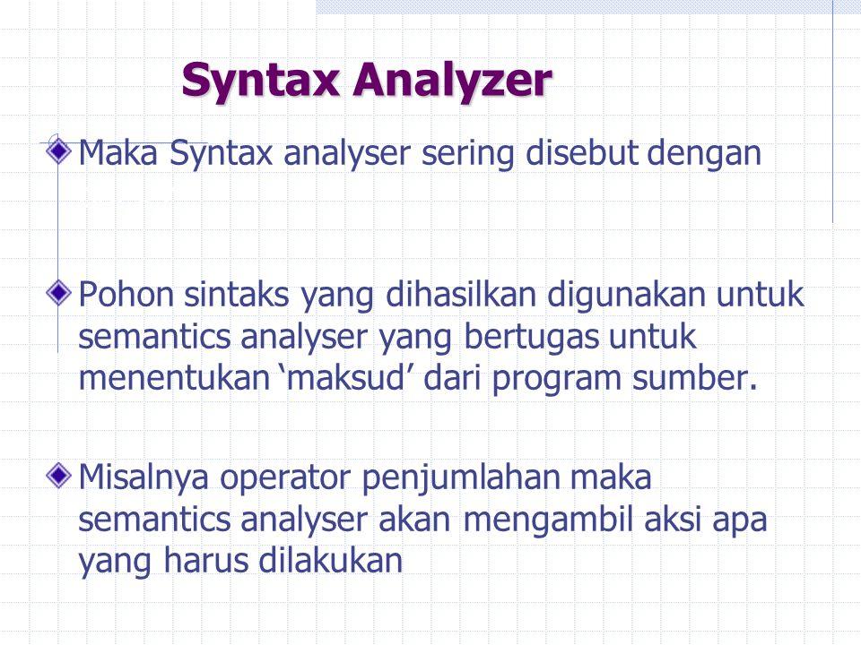 Syntax Analyzer Maka Syntax analyser sering disebut dengan parser Pohon sintaks yang dihasilkan digunakan untuk semantics analyser yang bertugas untuk
