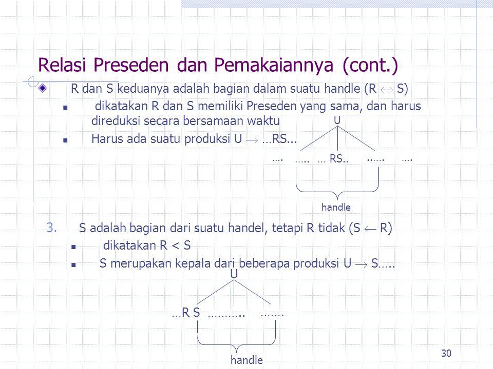 30 R dan S keduanya adalah bagian dalam suatu handle (R  S) dikatakan R dan S memiliki Preseden yang sama, dan harus direduksi secara bersamaan waktu