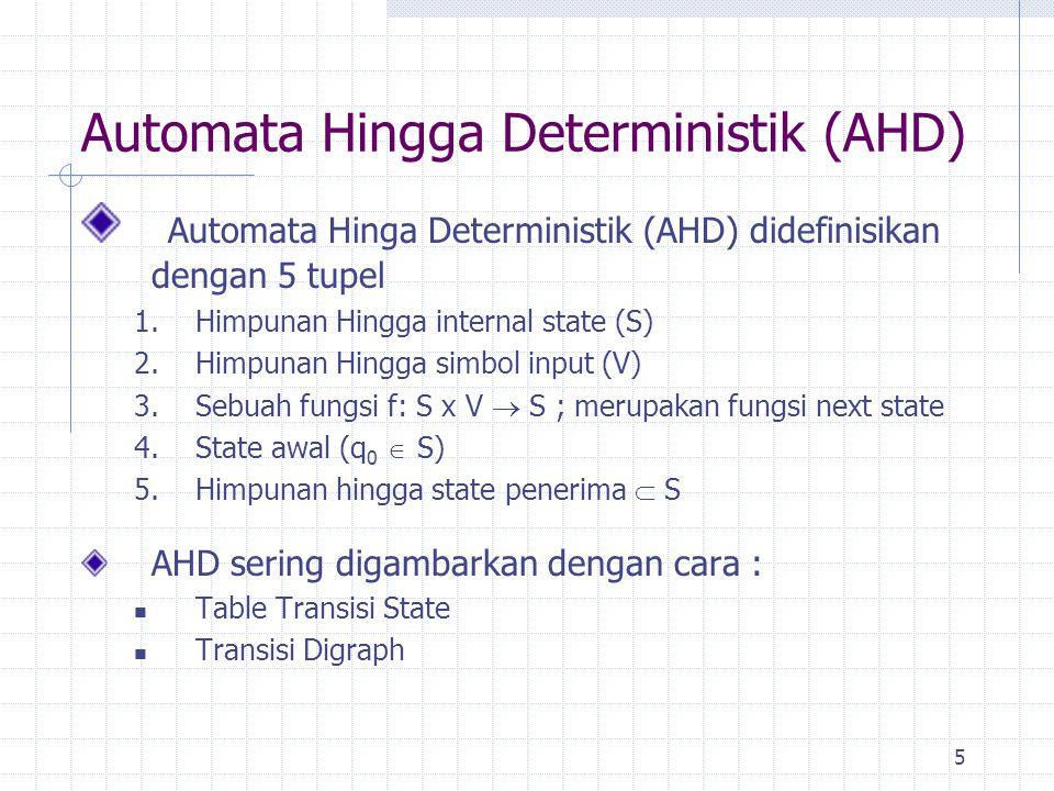 6 Automata Hingga Deterministik (AHD) (cont.) Contoh : Diketahui AHD dengan 2 simbol input dan 3 state, 1.