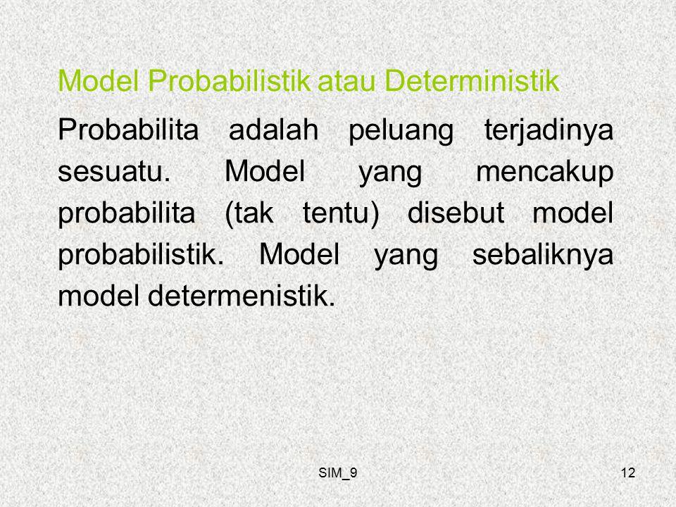 SIM_912 Model Probabilistik atau Deterministik Probabilita adalah peluang terjadinya sesuatu.
