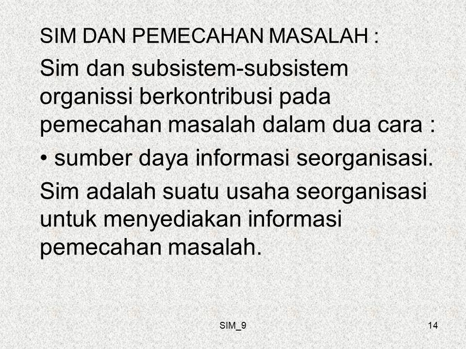 SIM_914 SIM DAN PEMECAHAN MASALAH : Sim dan subsistem-subsistem organissi berkontribusi pada pemecahan masalah dalam dua cara : sumber daya informasi seorganisasi.