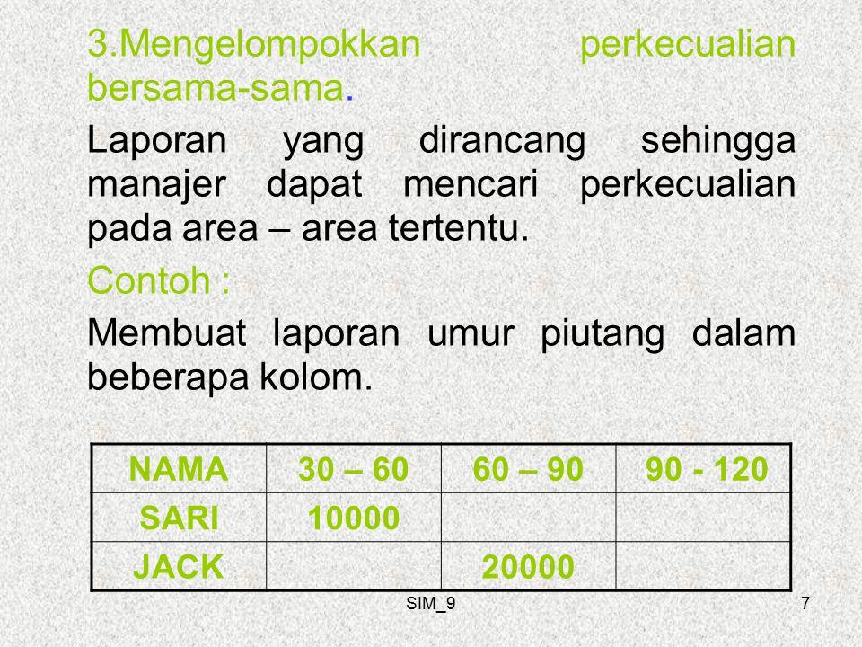 SIM_98 4.Menunjukkan varians dari normal kegiatan actual dibandingkan dengan rencana / target kegiatan dan perbedaannya ditampilkan sebagai varians.