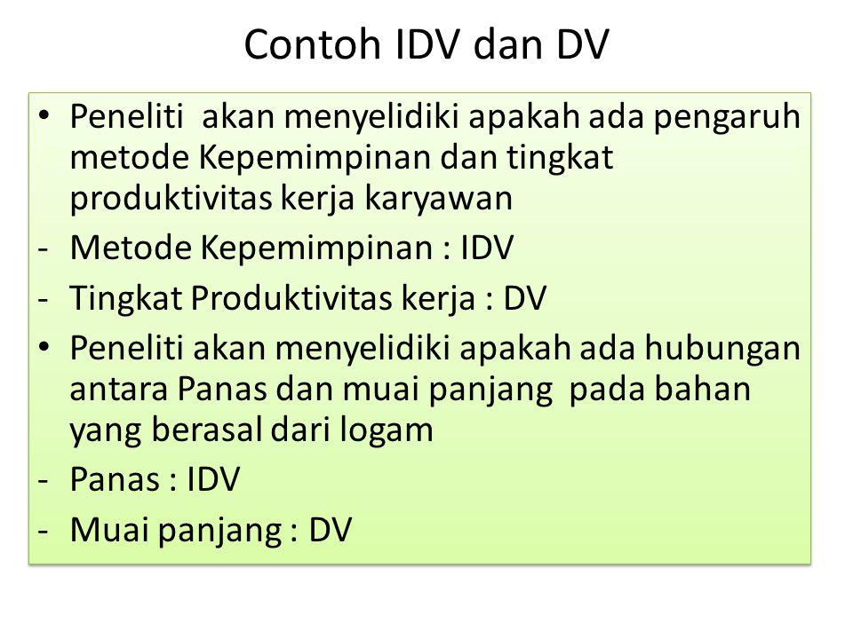 Contoh IDV dan DV Peneliti akan menyelidiki apakah ada pengaruh metode Kepemimpinan dan tingkat produktivitas kerja karyawan -Metode Kepemimpinan : ID
