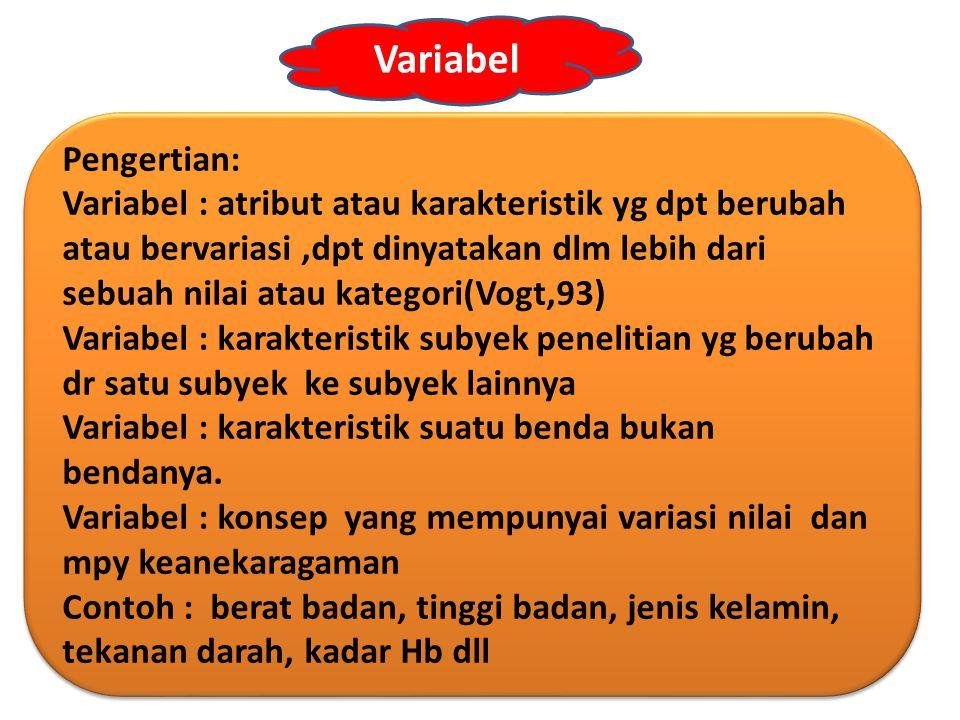 Variabel Pengertian: Variabel : atribut atau karakteristik yg dpt berubah atau bervariasi,dpt dinyatakan dlm lebih dari sebuah nilai atau kategori(Vog