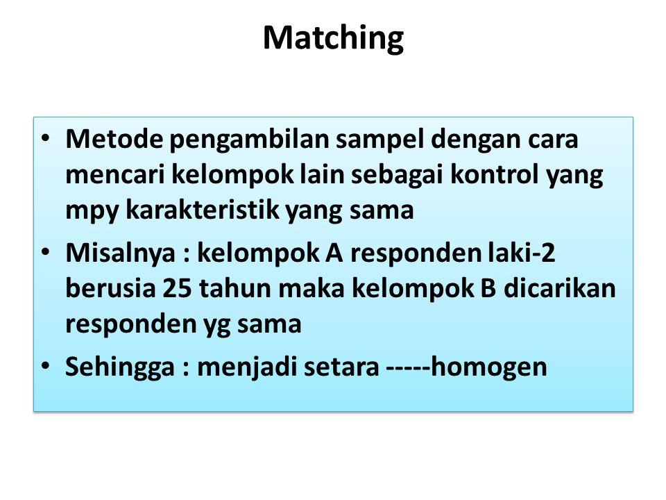 Matching Metode pengambilan sampel dengan cara mencari kelompok lain sebagai kontrol yang mpy karakteristik yang sama Misalnya : kelompok A responden