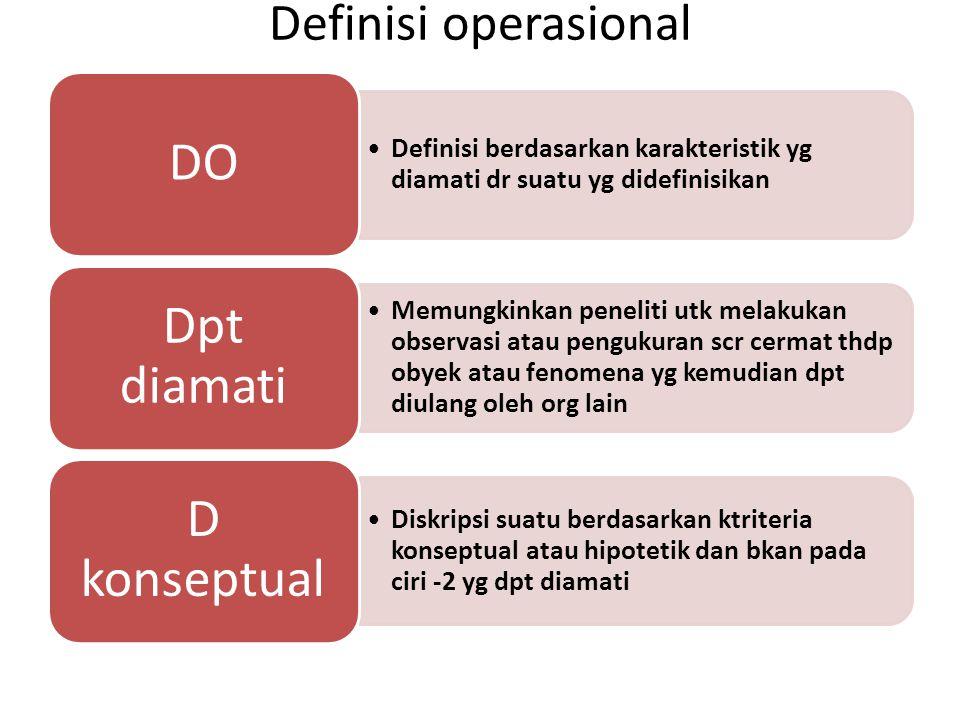 Definisi operasional Definisi berdasarkan karakteristik yg diamati dr suatu yg didefinisikan DO Memungkinkan peneliti utk melakukan observasi atau pen